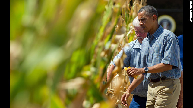 President Obama inspects a drought-stricken area of Missouri Valley, Iowa, with corn farmer Roger McIntosh on Monday, August 13, as he campaigns in the area. Since mid-June, corn prices have risen about 60% because of declining crop yields.