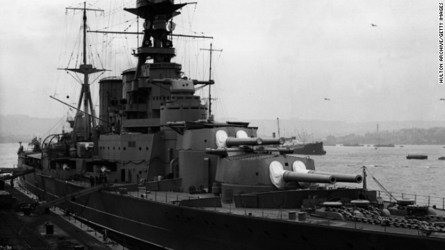 The battle cruiser HMS Hood during a dockyard refit. She served in World War II before she was sunk by the Bismarck on May 24, 1941. The shipwreck was located in 2001 -- the 60th anniversary of the battle between the Hood and Bismarck. 