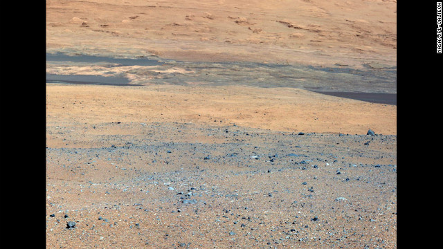 This image, taken from the rover's mast camera, looks south of the landing site toward Mount Sharp.