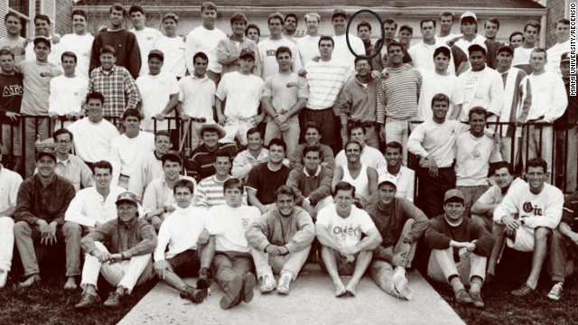 Sporting a turtleneck, Paul Ryan, center, back row, is shown here in 1990 with his Miami University fraternity Delta Tau Delta, from the school's yearbook.