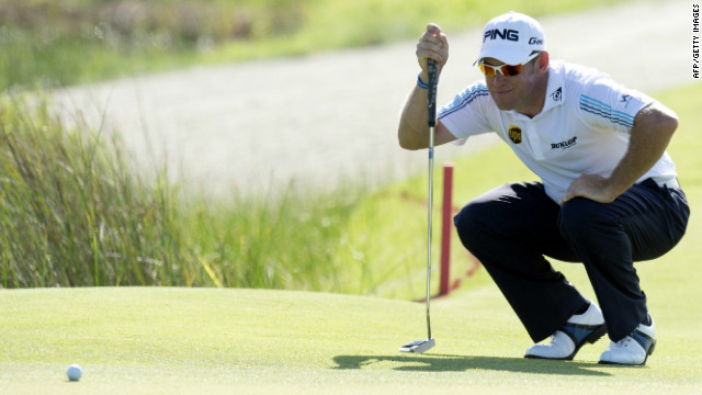 Lee Westwood lines up a putt during a disappointing first round of 75 at Kiawah Island's Ocean Course.