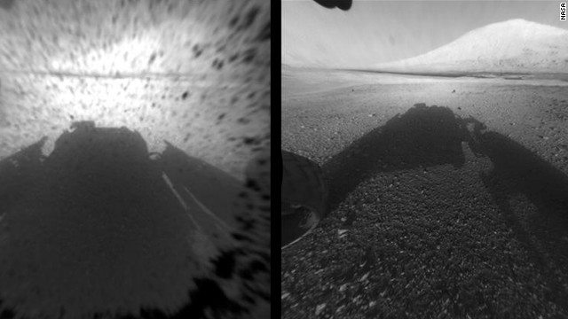 This image comparison shows a view through a Hazard-Avoidance camera on NASA's Curiosity rover before and after the clear dust cover was removed. Both images were taken by a camera at the front of the rover. Mount Sharp, the mission's ultimate destination, looms ahead.