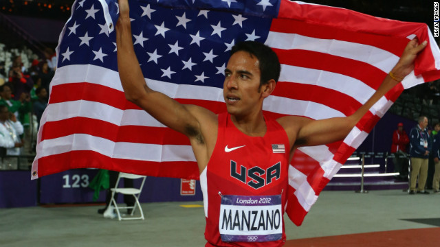 Right after winning second place in the 1,500-meter final at the London Olympics, Leo Manzano waved just the U.S. flag.