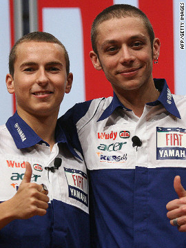 "Rossi welcomed Lorenzo to Yamaha in 2008. The 25-year-old is known as ""Por Fuera"" (meaning ""by the outside"") following a daring move in his first race victory in the 125cc class in 2003."