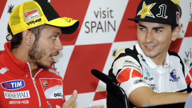 Valentino Rossi, left, will rejoin Jorge Lorenzo at Yamaha next season, renewing one of MotoGP's biggest rivalries in recent years.