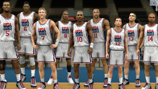 Michael Jordan, No. 9, and other members of the