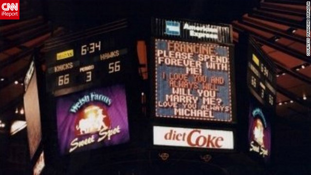 "When her boyfriend pointed to the JumboTron at a New York Knicks game, Francine Miraglia was slow to catch on to the public proposal. ""I actually read it and said, 'Oh, how nice,' and didn't even realize it was for me!"" Miraglia said. See more on their proposal on Francine Miraglia's iReport."