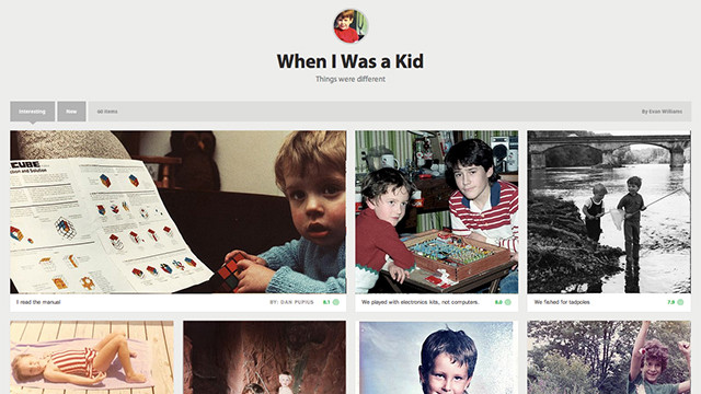 A collection of users' childhood photos on Medium, the new blogging platform from Evan Williams and Biz Stone.