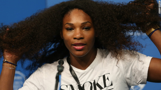 Serena Williams battles \'crazy hair\'