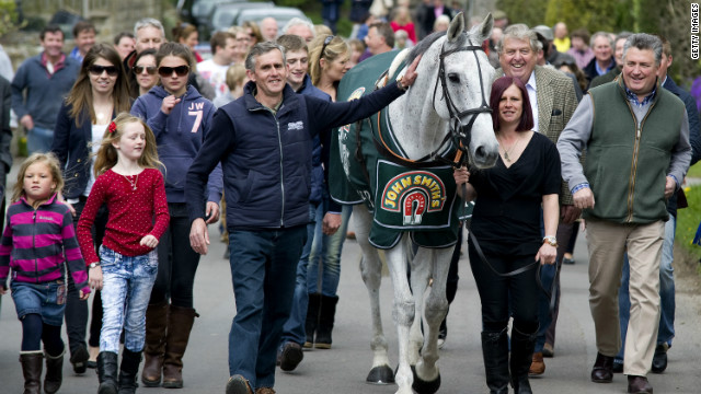 2012 Grand National winner Neptune Collonges has a big fan club after winning the most famous national hunt race in the world.