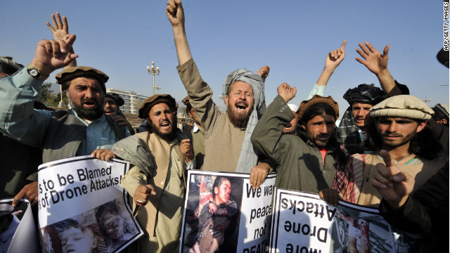  Pakistani tribesmen shout anti-US slogans during a protest in Islamabad in February against the U.S. drone attacks in the Pakistani tribal region.