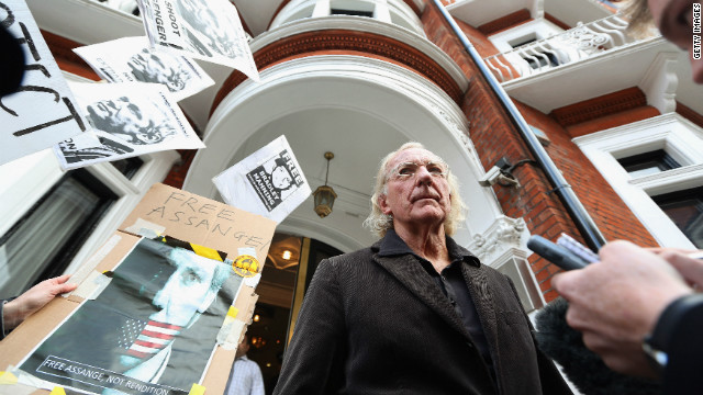 Journalist John Pilger arrives to visit friend Assange at the embassy in Knightsbridge.