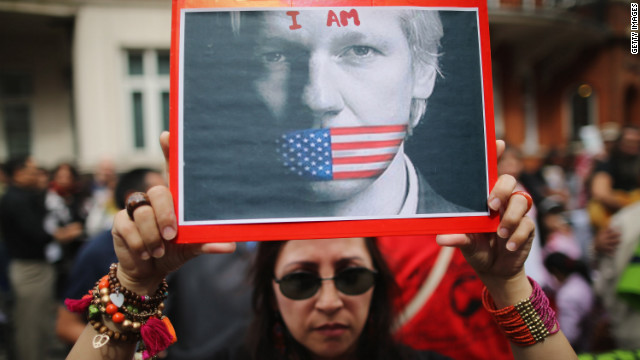 Protesters gather Thursday, August 16, outside the Ecuador Embassy in London, where WikiLeaks founder Julian Assange has been living since June. Ecuador announced it would grant Assange asylum over fears of political persecution.