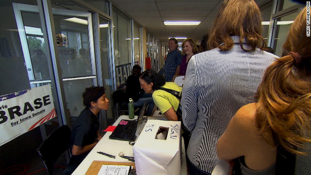 """The urgency at the Obama campaign office in Davenport is apparent. Everyone in line for tickets to one of the president's rallies is asked if he or she is registered to vote. """"I think we still have an organizational advantage in this state,"""" Obama political strategist David Axelrod says."""