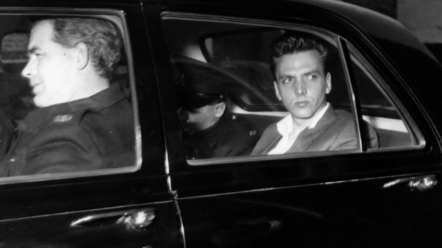 "Ian Brady in police custody prior to his court appearance for the murder of three children in 1965. Brady and his partner Myra Hindley became known as the ""Moors Murderers"" after burying their young victims on Saddleworth Moor, Greater Manchester, UK."