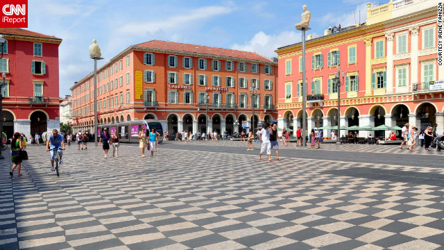 """Nice is like a Paris on the sea, very poetic,"" <a href='http://ireport.cnn.com/docs/DOC-826524'>says Irene Fanizza</a>. The city's colorful Place Massena hosts markets and outdoor events."