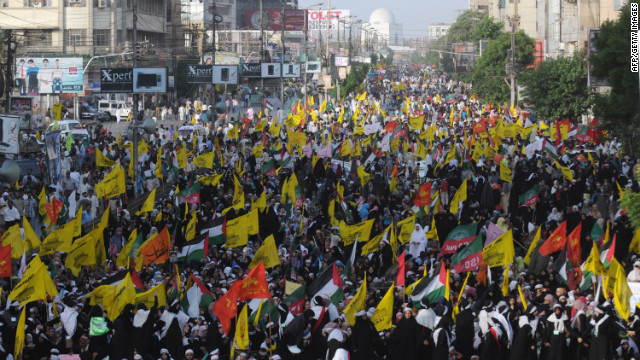 Pakistani Shiite Muslims march during a rally against Israel and the United States on Al-Quds (Jerusalem) day. Most Islamic states honor Al-Quds day, which falls on the final Friday of Ramadan, with protest marches and prayers for Palestinian freedom.