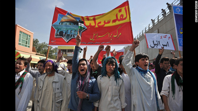 Afghan demonstrators shout slogans against Israel during an Al-Quds rally in Kabul. <br/><br/>