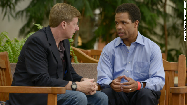 Former Rep. Patrick Kennedy meets with Rep. Jesse Jackson Jr. at the Mayo Clinic in August.