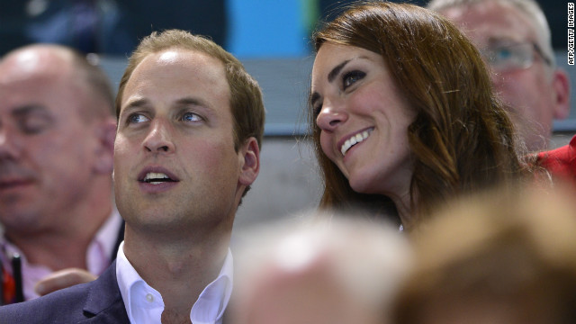 Prince William and his wife, Catherine, attend a swimming competition at the London Olympics earlier this month.