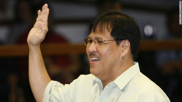 Philippines Interior Secretary Jesse Robredo takes an oath during a hearing in Manila in 2010.
