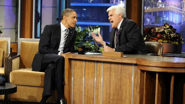 Jay Leno speaks with President Barack Obama on