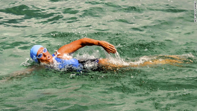 Diana Nyad swims off Havana on Saturday, as she begins a more than 100-mile trip across the Florida Straits to the Florida Keys. 