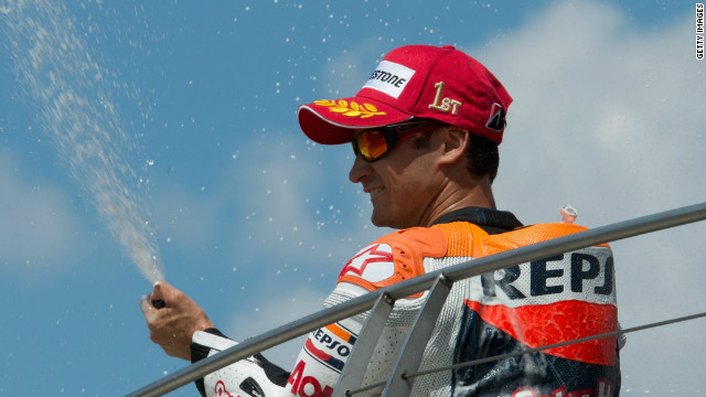 Dani Pedrosa celebrates his MotoGP win at Indianapolis in traditonal style.