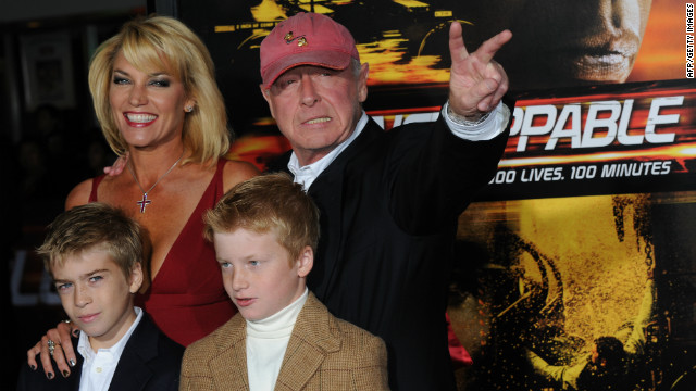 Scott and his family celebrate the premiere of the movie &quot;Unstoppable&quot; in October 2010. 