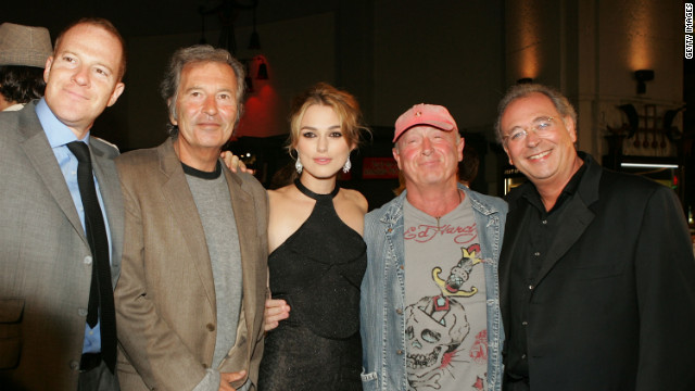 From left, New Line's Toby Emmerich, Bob Shaye, actress Keira Knightley, director Scott and producer Samuel Hadida arrive at the premiere of &quot;Domino&quot; in Hollywood in 2005.