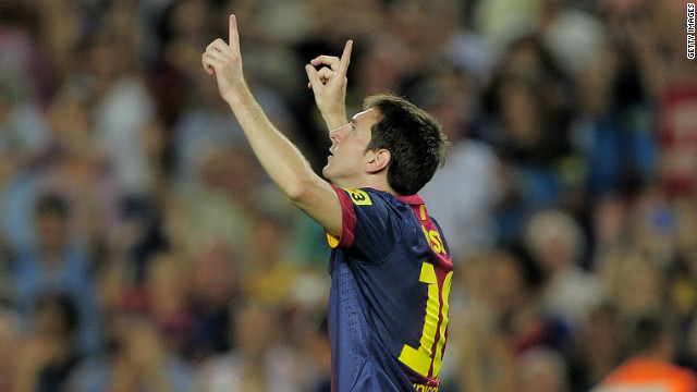 Lionel Messi scored two first-half goals as Barcelona beat Real Sociedad 5-1 on Sunday.