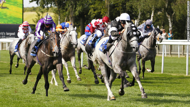Medici Time under jockey Eddie Ahern won the annual gray horses handicap race held at the famous Newmarket race course in England in August 2012.