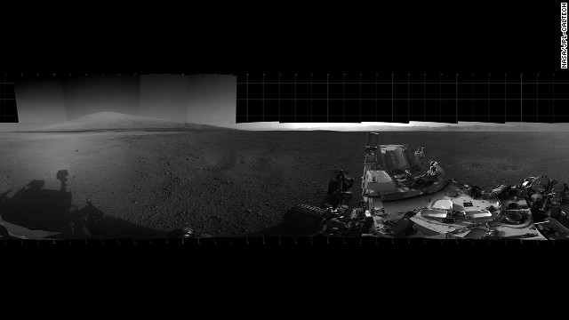 With the addition of four high-resolution Navigation Camera, or Navcam, images, taken on August 18, Curiosity's 360-degree landing-site panorama now includes the highest point on Mount Sharp visible from the rover. Mount Sharp's peak is obscured from the rover's landing site by this highest visible point.