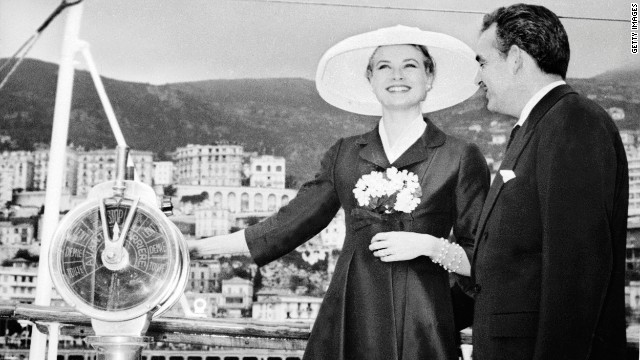 American screen siren Grace Kelly brought Hollywood charm to the Grimaldi royal family when she married Prince Rainier III of Monaco in April 1956 - pictured aboard their yacht &quot;Deo Juvante II&quot; earlier that year.