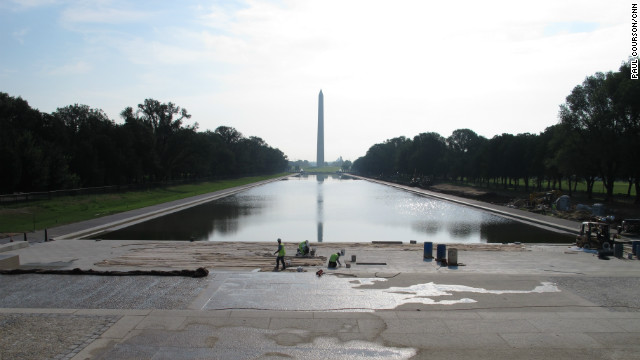 Barring any complications, pumps that are drawing water from the Potomac River will have topped off the Reflecting Pool by the weekend of August 25.