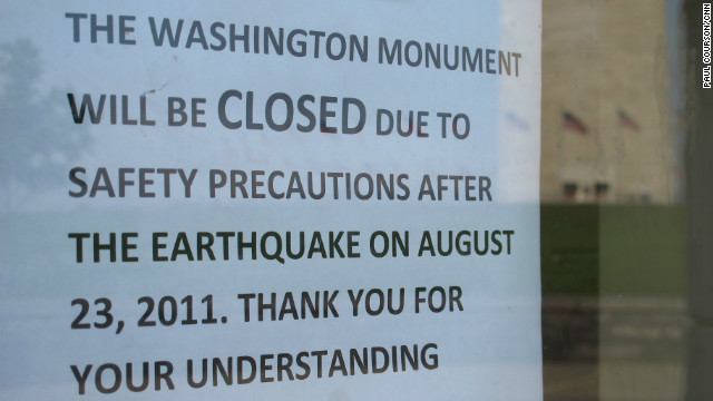An August 23, 2011, earthquake damaged the Washington Monument and forced its closure. 