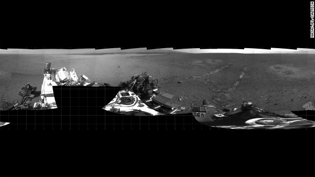 The Mars rover Curiosity moved about 15 feet forward and then reversed about 8 feet during its first test drive on Wednesday, August 22. The rover's tracks can be seen in the right portion of this panorama taken by the rover's navigation camera.