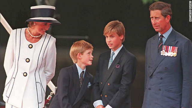 Princess Diana, from left, Prince Harry, Prince William and Prince Charles gather for the commemorations of VJ Day on August 19, 1995, in London. 