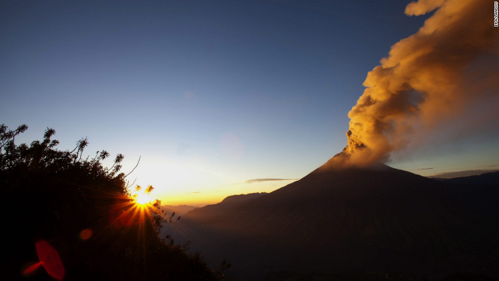 Smoke rises from the Tungurahua volcano in Huambalo, Ecuador, on Tuesday, August 21. Increased volcanic activity has led authorities to raise a security alert from moderate to high. The volcano is 87 miles (140 kilometers) south of Quito, Ecuador's capital. <a href='http://ireport.cnn.com/topics/293965'>Are you there? Send us your pictures and video.</a>