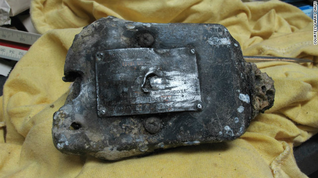 The data plate from Bob Besal's plane found in August off the coast of St. Augustine, Florida by Joe Kistel that led to identifying the pilot and the plane which crashed in 1974.