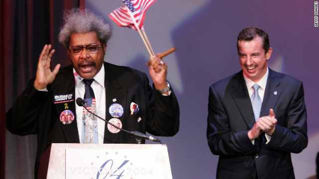 "With Republican National Committee chairman Ed Gillespie by his side, King speaks at a 2004 victory celebration for newly re-elected President George W. Bush. King says he is not loyal to either political party. ""I'm a 'Republicrat' and that means that I'm for the American people first and the party second."""