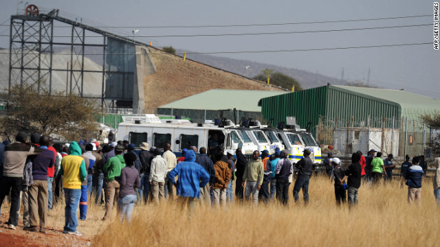 About 600 workers stop working at the Royal Bafokeng Platinum Mine on Wednesday in Rustenburg.