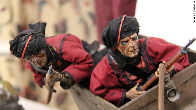 "Long before computer generated images dominated movie-making, practical special effects were used by George Lucas' wizards at Industrial Light and Magic. Here's a miniature stop-motion model of two Thuggees from the mine cart chase in ""Indiana Jones and the Temple of Doom."""