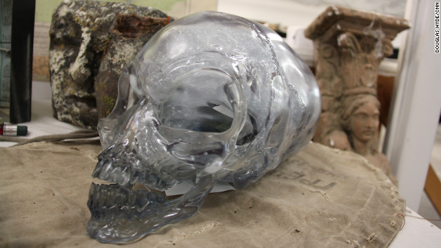 A crystal skull from the fourth adventure, &quot;Indiana Jones and the Kingdom of the Crystal Skull.&quot; The skull, from an interdimensional being, possessed impressive psychic powers.