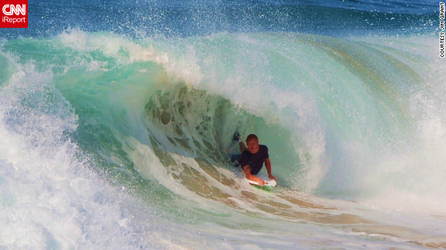 For beach lover Jim Grant, his trip down to &quot;the Wedge&quot; in Newport Beach was a big highlight when he got to see the beauty and power of the waves as surfers enthusiastically took them on. &quot; This spot is fantastic. I could drift up and down this section of beach for hours and never get bored,&quot; he said.&lt;br/&gt;&lt;br/&gt;&lt;a href='http://ireport.cnn.com/docs/DOC-830642' target='_blank'&gt;Check out more photos of the spectacular waves on Jim Grant's iReport&lt;/a&gt;. 