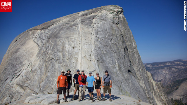 Backpacking for three days through Yosemite National Park, iReporter Andrew Pielage and his friends crossed a life's &quot;to-do&quot; off their list when they made it to the top of Yosemite's famous Half Dome. &quot;It was a dream come true,&quot; he said. &quot;I had waited twenty years to do it and I finally made it.&lt;br/&gt;&lt;br/&gt;&lt;a href='http://ireport.cnn.com/docs/DOC-829752' target='_blank'&gt;Check out another photo and read more about their journey on Andrew Pielage's iReport&lt;/a&gt;.