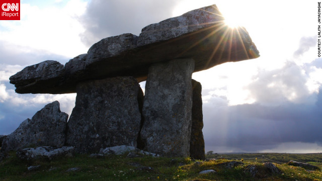 "With lush countrysides and beautiful castles shrouded in legend, Ireland boasts some of the world's most impressive sights. And for iReporter Lalith Jayasinghe, his favorite sight during her trip to Ireland was the Burren in County Clare. ""It's a 5000-year-old portal tomb. I was in awe,"" he told CNN.<br/><br/><a href='http://ireport.cnn.com/docs/DOC-830619' target='_blank'>Read more about this little slice of Ireland on Lalith Jayasinghe's iReport</a>."