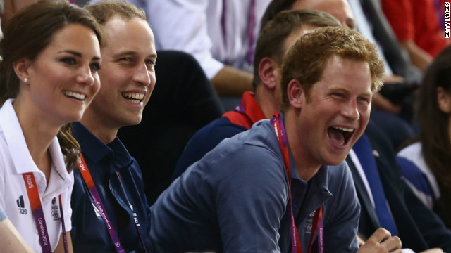 Prince Harry gets into the Olympic spirit, with brother Princes William and the Duchess of Cambridge.