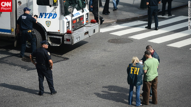Law enforcement, including the FBI and New York police, are at the scene Friday in a photo from CNN iReporter Vladimir Dusio.