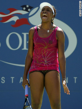 At the final grand slam of 2010, Williams opted for a short pink dress with sparkly decoration at her home U.S. Open.